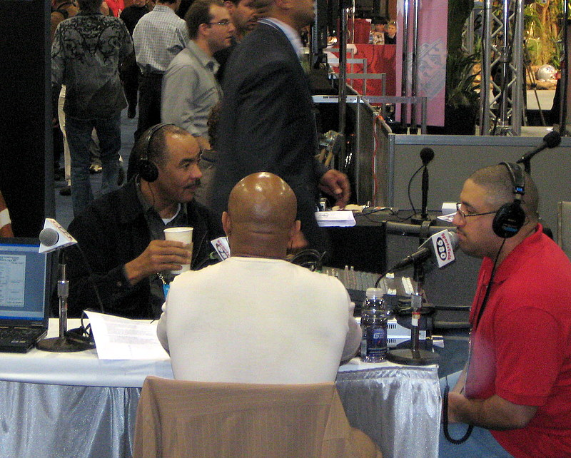 NFL Hall of Famer Kellen Winslow interviewed on radio row at Super Bowl XLII