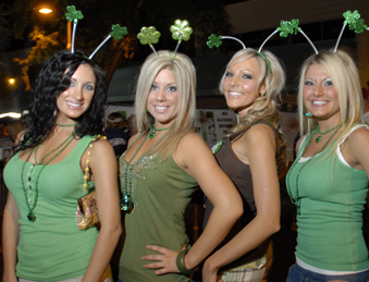 Hot girls partying on St. Patrick's Day