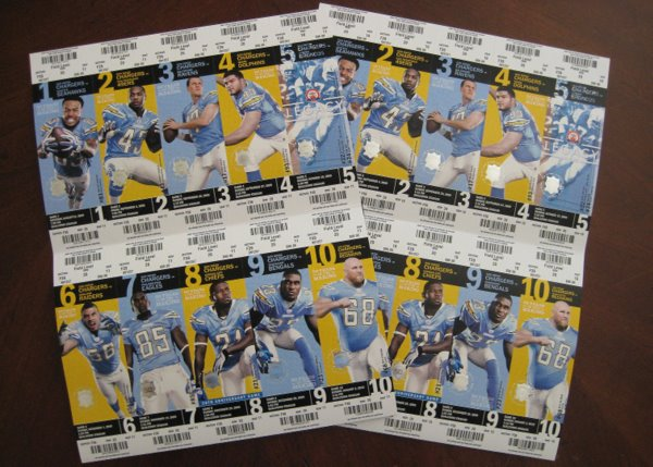 2009 San Diego Chargers Season Tickets