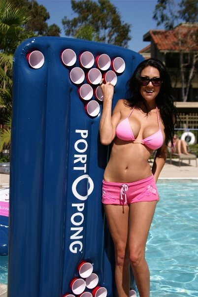 hot babe with beer pong raft