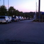 The scene outside Rosenblatt Stadium Day 1 of the CWS