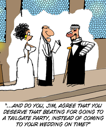 Beaten up groom tailgater cartoon