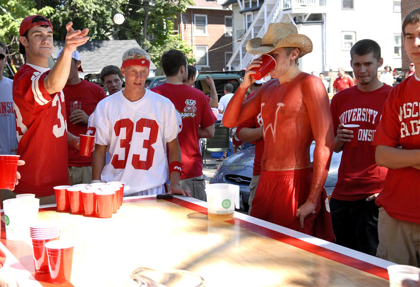 Wisconsin tailgating beer pong. Photo courtesy of Jeff Schorfheide