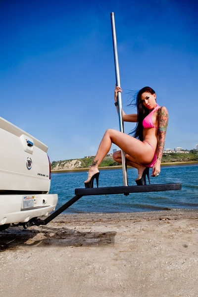Tow Hitch Stripper Pole bikini girl