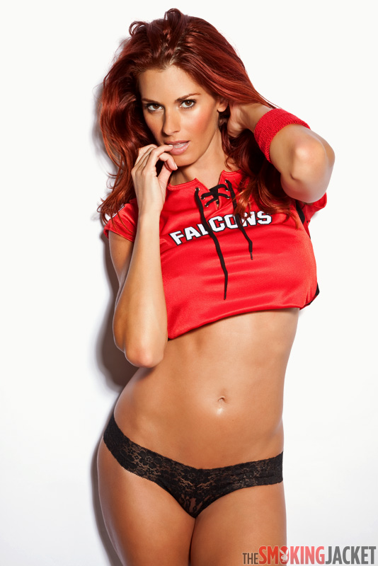 Jaime Edmondson models Atlanta Falcons gear