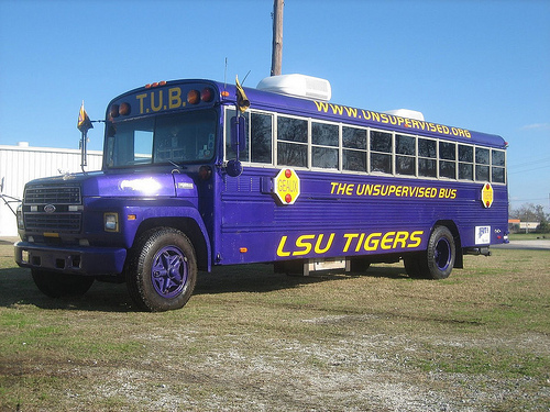 LSU Unsupervised tailgating school bus