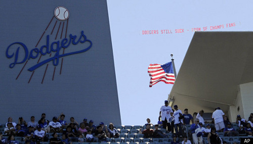 Giants Dodger flying banner