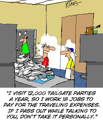 Hard Working tailgating cartoon