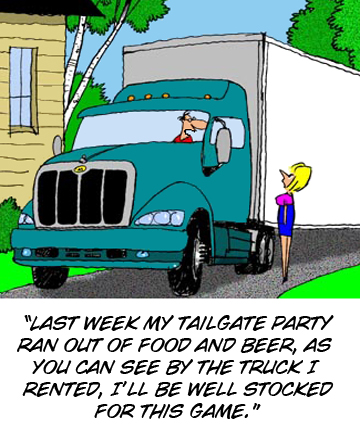 Semi-truck tailgating cartoon