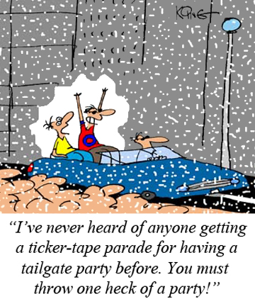 Ticker-Tape Tailgater Cartoon