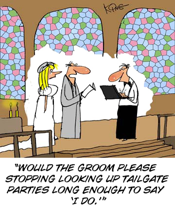 Wedding Planner tailgating cartoon
