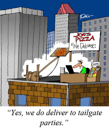 Tailgate pizza delivery