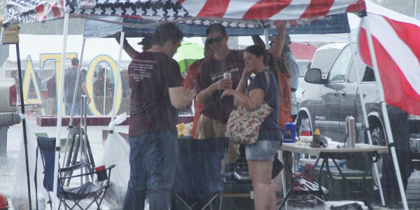 Tailgating in the rain