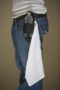 Black Plain beer holster with towel