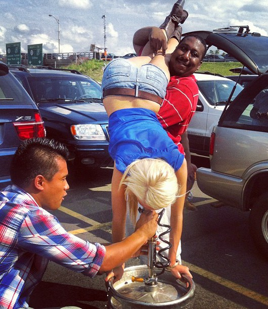 Keg Stand while Tailgating