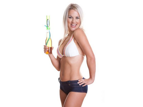 Hot girl bikini top holding the Bottle Beer Bong