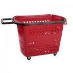 small burgundy rolling tailgating basket