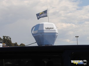 DISH Tailgater on roof of van at Qualcomm Stadium prior to the San Diego Chargers game