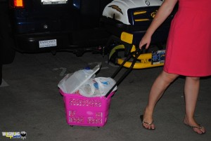 Pink Rolling basket loaded for tailgating