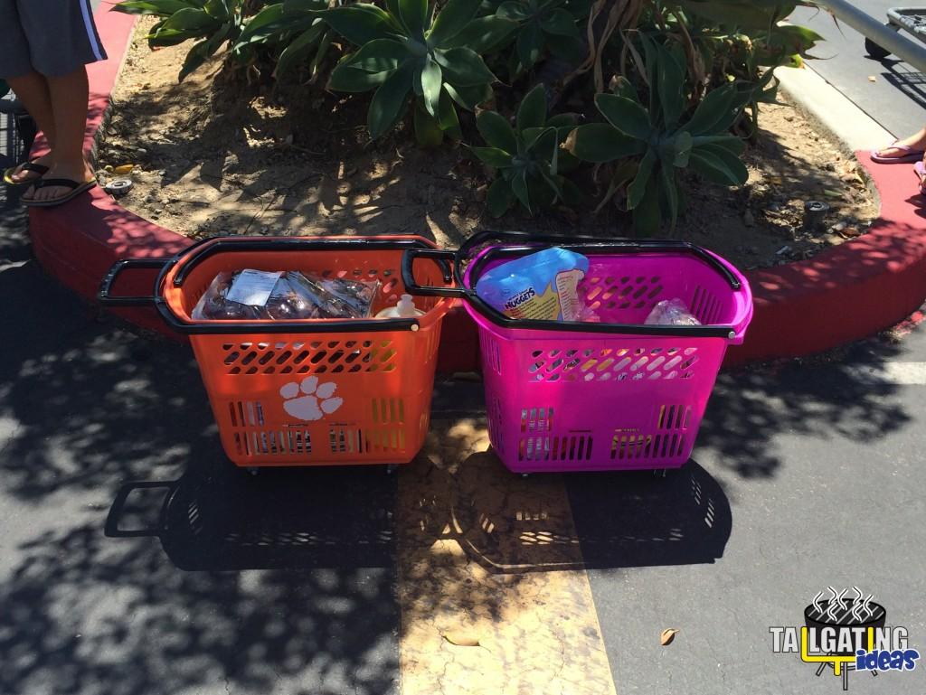 Small rolling baskets outside of Costco