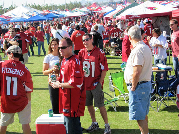 Arizona Cardinals fans tailgate on the Great Lawn outside of University of Phoeniz Stadium