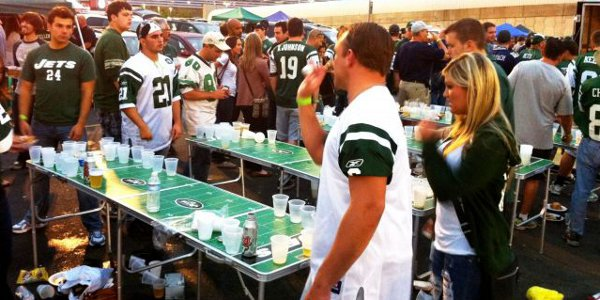 Beer Pong at a New York Jets tailgate party