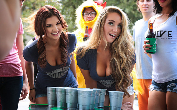 Beer pong distraction boob cleavage