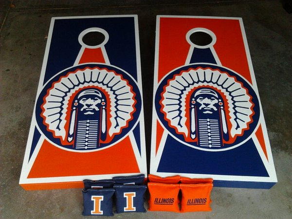home cornhole design ideas illinois fighting illini cornhole boards - Cornhole Design Ideas
