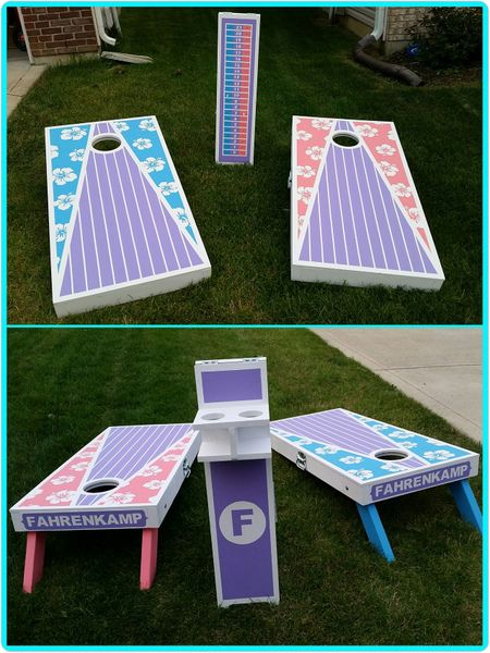 Beach themed cornhole boards