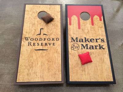 Makers Mark cornhole board