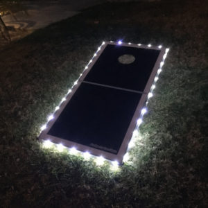 Pro Glow Cornhole Lights outdoors