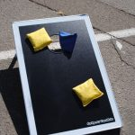Cornhole bags on boards