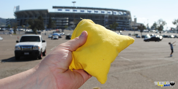 Premium cornhole bag at Qualcomm Stadium