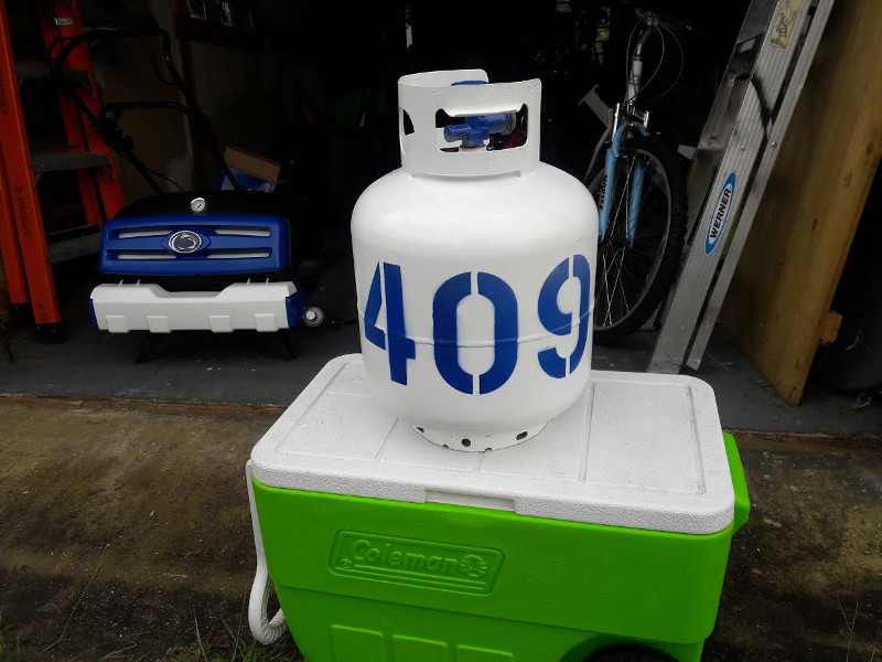 Customized propane tank with the number of total wins by Joe Paterno