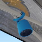 Swimmer Duo Bluetooth Speaker from Polk BOOM wrapped on pop up tent